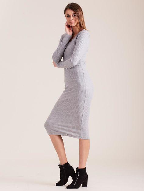Szara dopasowana sukienka cold shoulder                              zdj.                              3