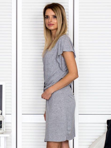 Szara drapowana sukienka                              zdj.                              5