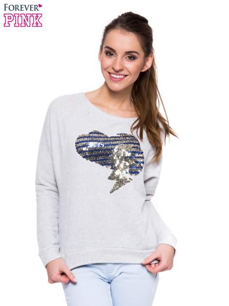 Szara dresowa bluza z aplikacją z cekinów
