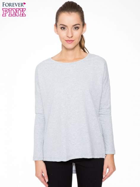 Szara dresowa bluza z dłuższym tyłem i obniżoną linią ramion