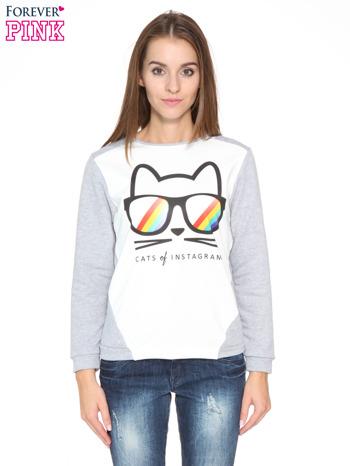 Szara dresowa bluza z kotem z motywem Instagrama                                  zdj.                                  1