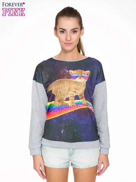 Szara dresowa bluza z nadrukiem kota z motywem galaxy