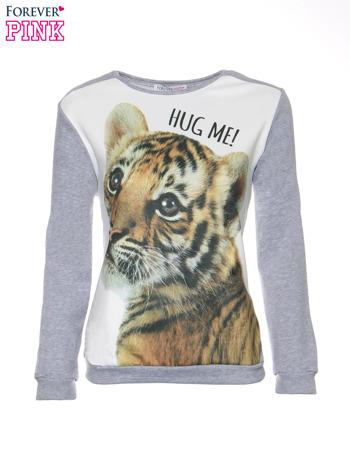Szara dresowa bluza z nadrukiem tygryska i napisem HUG ME!                                  zdj.                                  5