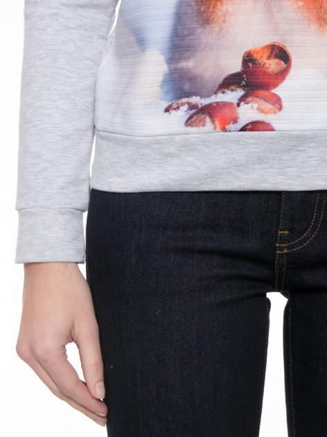 Szara dresowa bluza z nadrukiem wiewiórki                                  zdj.                                  6