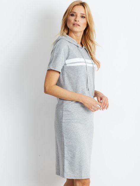 Szara dresowa sukienka z kapturem                              zdj.                              3