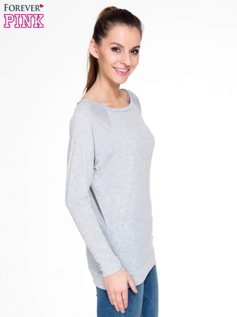 Szara melanżowa bawełniana bluzka z rękawami typu reglan                                  zdj.                                  3