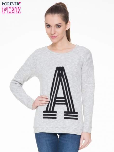 Szara melanżowa bluza z nadrukiem litery A