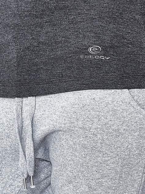 Szara melanżowa bluzka sportowa z dekoltem U PLUS SIZE                                  zdj.                                  6