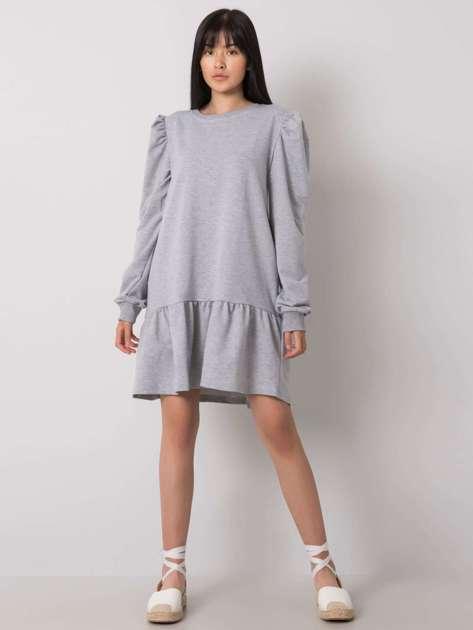 Szara melanżowa sukienka dresowa z falbaną Neah
