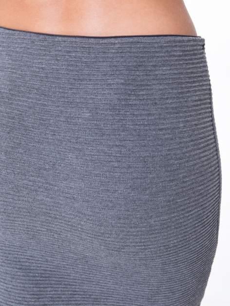 Szara prążkowana mini spódnica tuba z suwakami                                  zdj.                                  6