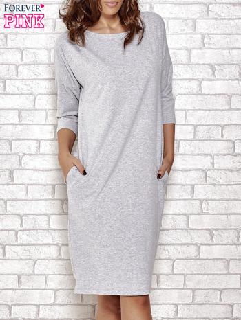 Szara prosta sukienka dresowa                                  zdj.                                  1