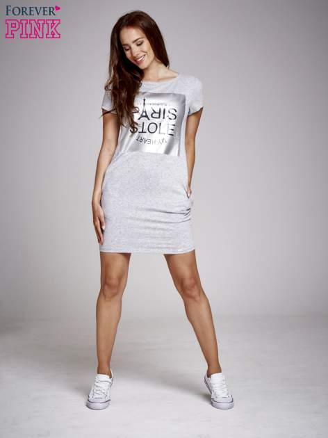 Szara sukienka dresowa ze srebrnym printem PARIS                                  zdj.                                  2
