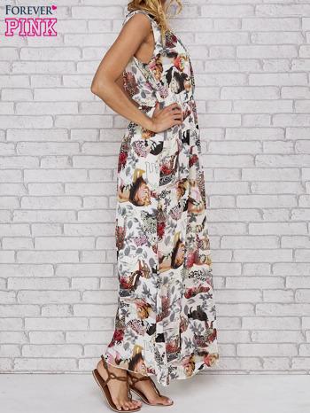 Szara sukienka maxi z motywem leopard print                                  zdj.                                  3