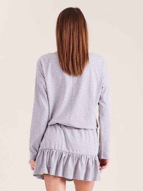Szara sukienka oversize z falbaną                              zdj.                              2
