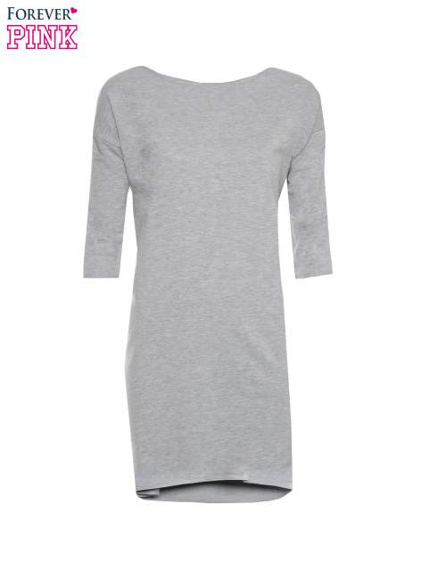 Szara sukienka oversize z surowym wykończeniem                                  zdj.                                  5