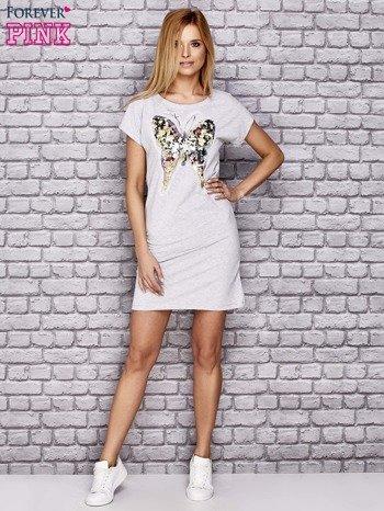 Szara sukienka z cekinowym motylem                                  zdj.                                  2