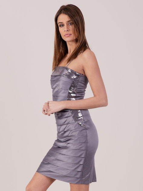 Szara sukienka z cekinowymi modułami                               zdj.                              2