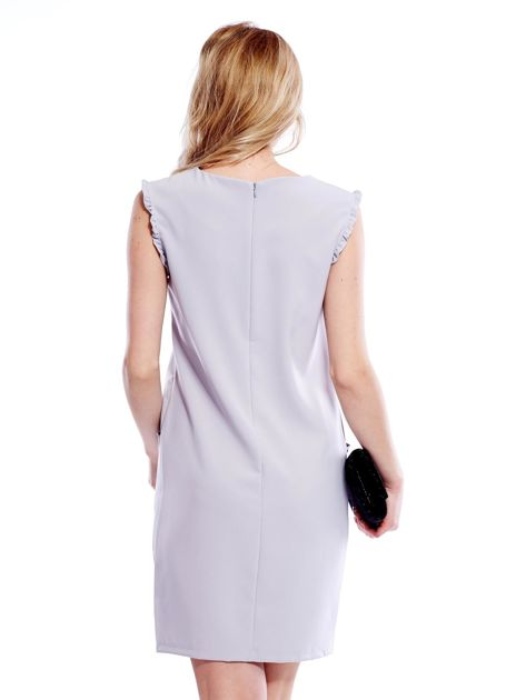 Szara sukienka z drobnymi falbankami                              zdj.                              2