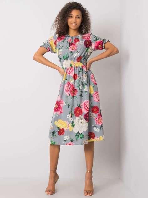 Szara sukienka z printami Melani
