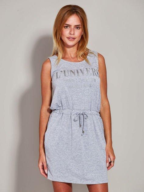 Szara sukienka z troczkami                                  zdj.                                  3