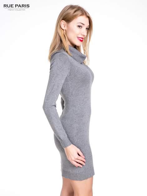 Szara swetrowa sukienka z golfem                                  zdj.                                  5