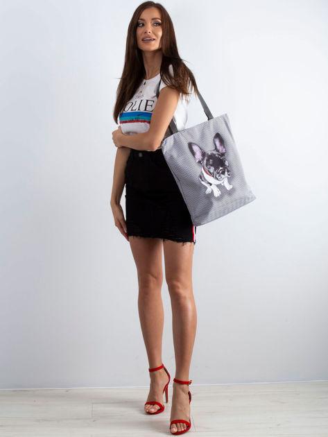 Szara torba materiałowa z psem                              zdj.                              4