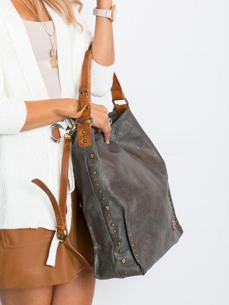 Szara torba na ramię z ekoskóry                              zdj.                              3