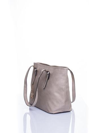 Szara torba shopper bag z regulowanymi rączkami                                  zdj.                                  4