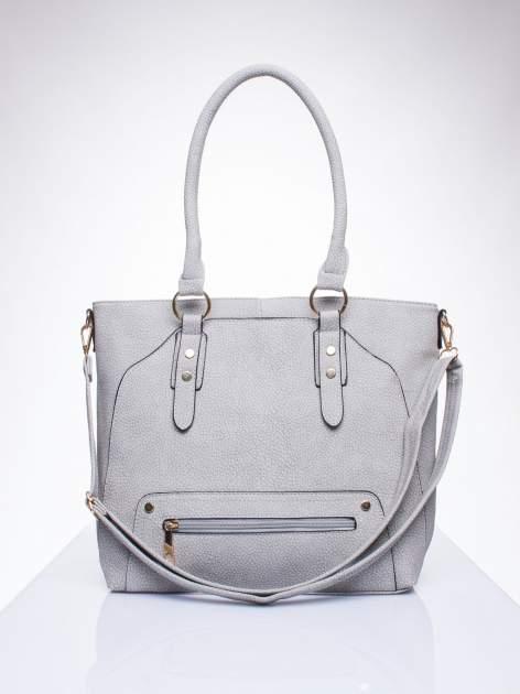 Szara torba shopper bag z suwakiem                                  zdj.                                  1