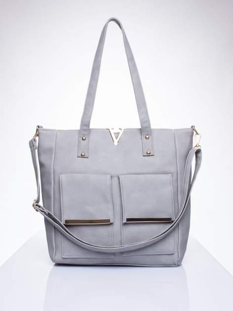 Szara torba shopper bag ze kieszeniami na klapki                                  zdj.                                  1