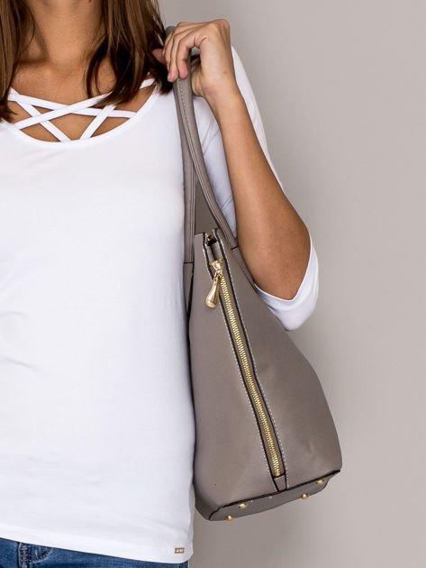 Szara torba shopper bag ze złotymi suwakami                                  zdj.                                  2