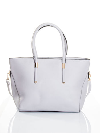 Szara torba shopper efekt saffiano                                  zdj.                                  1