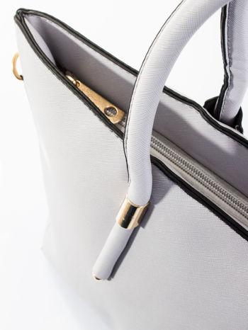 Szara torba shopper efekt saffiano                                  zdj.                                  9