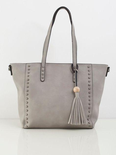 Szara torba shopperka z ekoskóry
