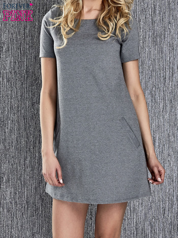 Szara trapezowa sukienka z kieszeniami                                  zdj.                                  5