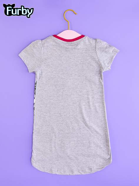 Szara tunika dla dziewczynki z nadrukiem FURBY                                  zdj.                                  2