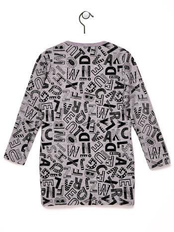 Szara tunika dla dziewczynki z nadrukiem literek