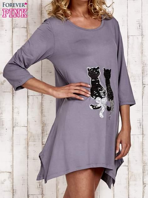 Szara tunika dresowa z aplikacją kotów z cekinów                                  zdj.                                  3