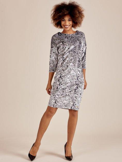Szara welurowa sukienka w abstrakcyjne wzory                              zdj.                              5