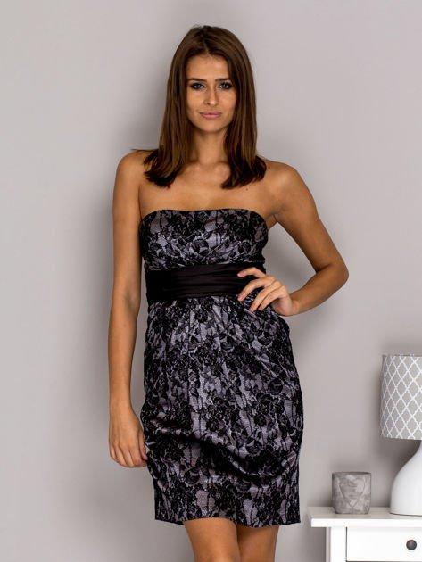 Szara sukienka z koronką i wiązaniem                              zdj.                              1