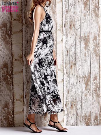Szara wzorzysta sukienka maxi z dżetami                                   zdj.                                  3