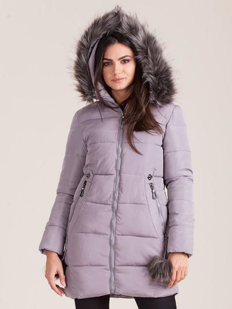 Szara zimowa kurtka damska z futerkiem                              zdj.                              5