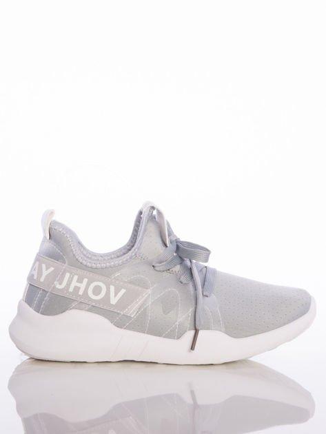 Szare ażurowe buty sportowe Rue Paris z przezroczystymi szlufkami i białymi napisami                              zdj.                              1