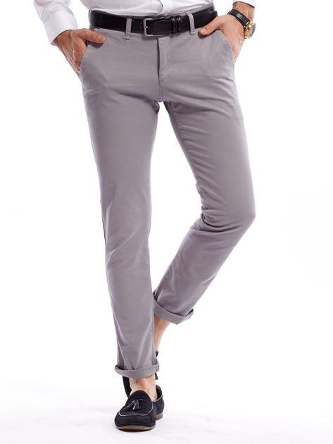 Szare bawełniane spodnie męskie chinosy                               zdj.                              1