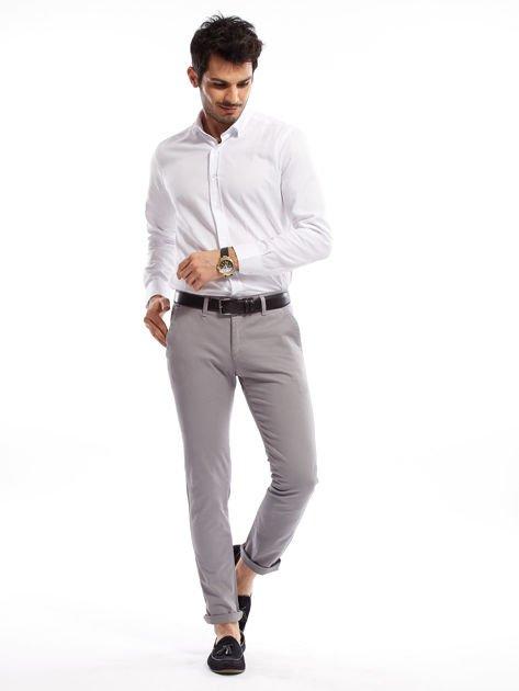 Szare bawełniane spodnie męskie chinosy                               zdj.                              6