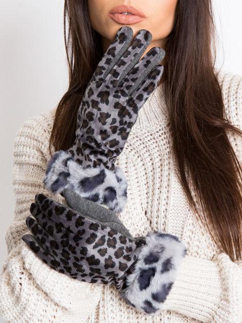 Szare bawełniano-zamszowe damskie rękawiczki z motywem zwierzęcym