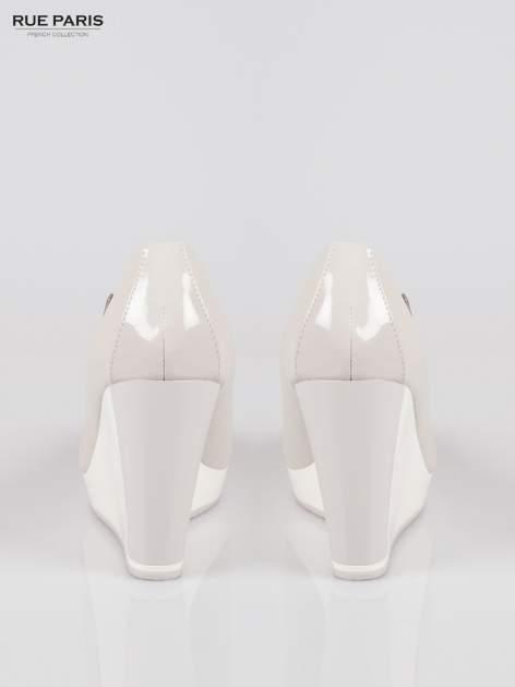 Szare buty damskie na kontrastowym koturnie                                  zdj.                                  3
