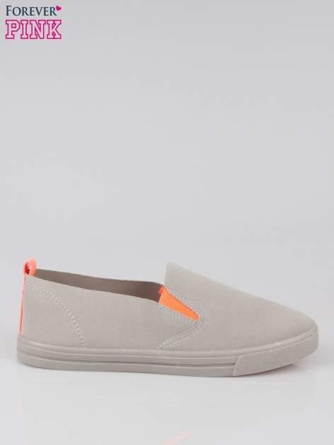 Szare buty slip on z fluo gumką                                  zdj.                                  1