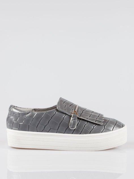 Szare buty slip on ze skóry krokodyla Jill