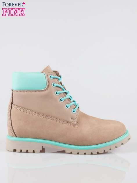 Szare buty trekkingowe traperki damskie ze skóry naturalnej                                  zdj.                                  1